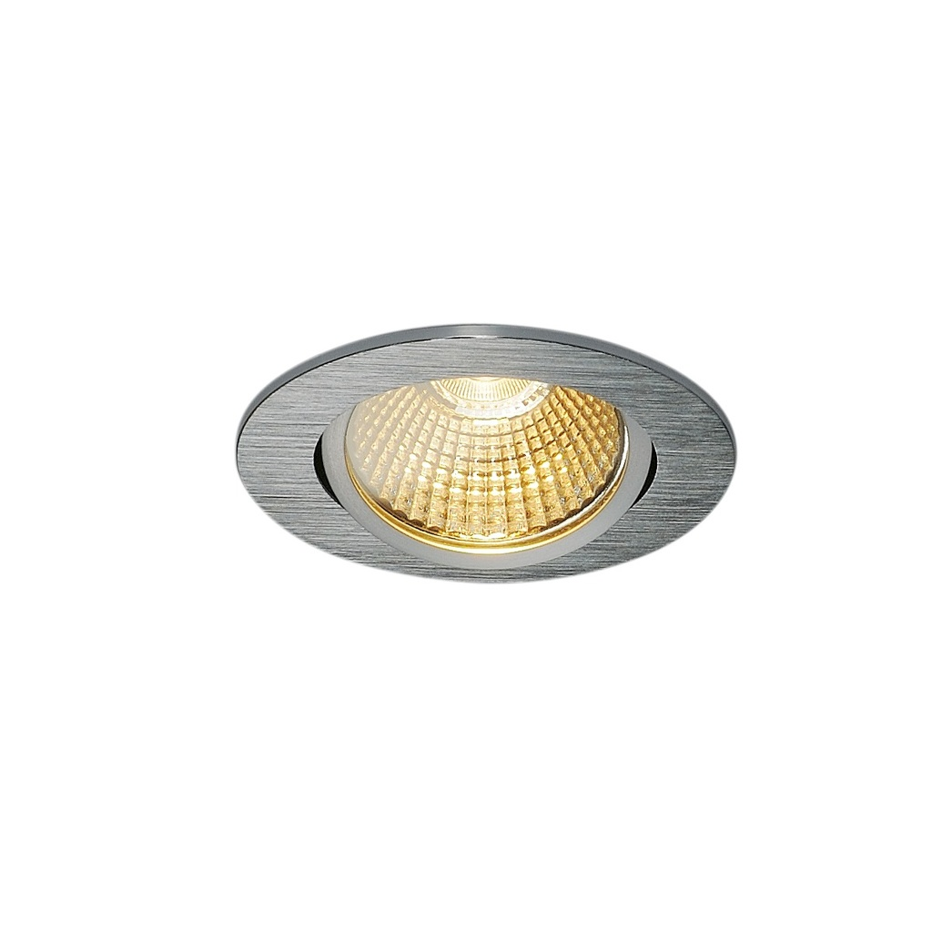 SLV New Tria 68 LED Downlight Round Borstad aluminium