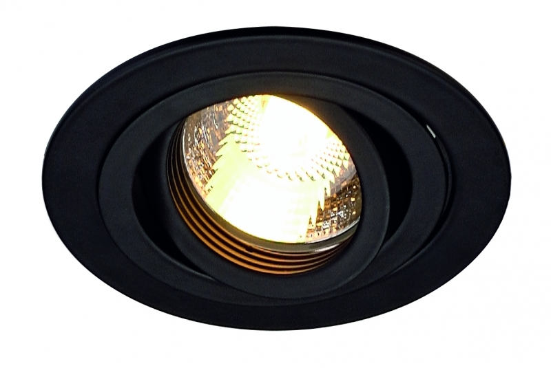 SLV New Tria GU10 högvolt rund downlight Svart