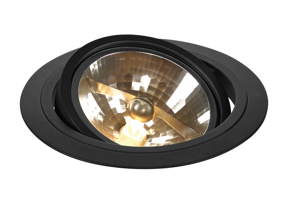 SLV New Tria QRB111 lågvolt rund downlight Svart