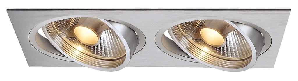 SLV New Tria 2 ES111 Square downlight i borstad aluminium