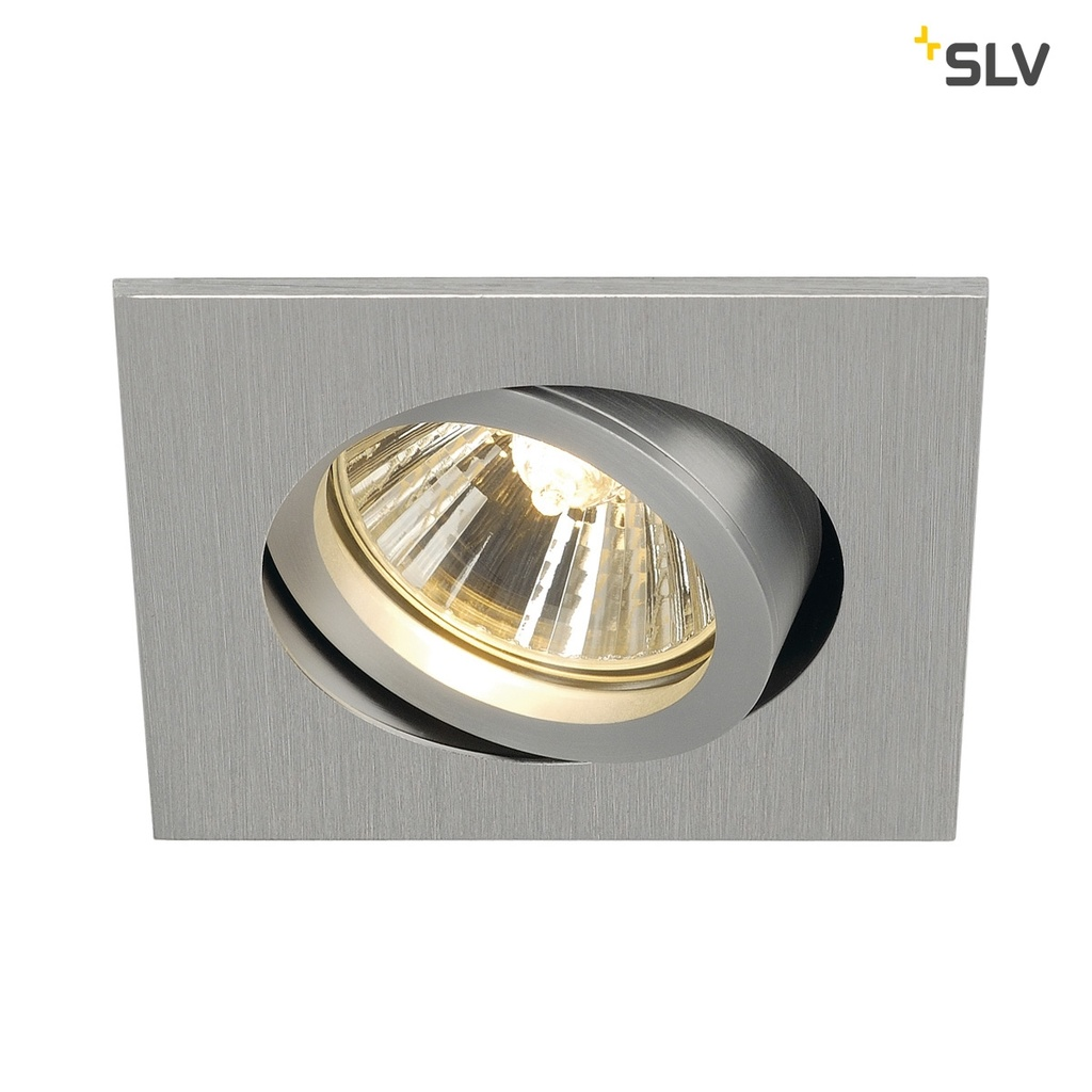 SLV New Tria 68 Square Downlight Borstad Aluminium