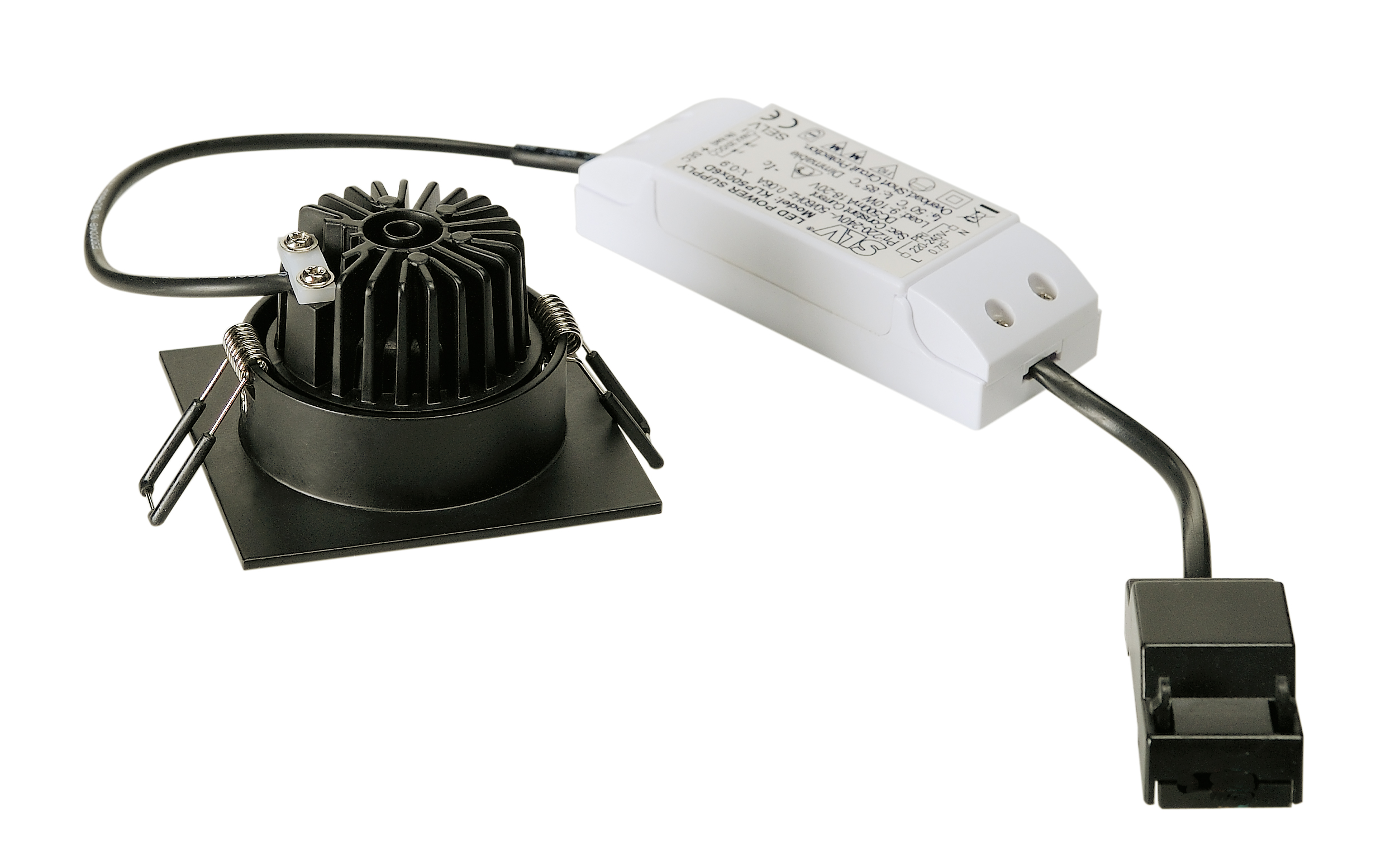 SLV New Tria 68 LED Downlight Triac fyrkantig Svart